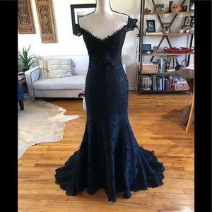 Romona keveza Fit and Flare Black Lace Dress